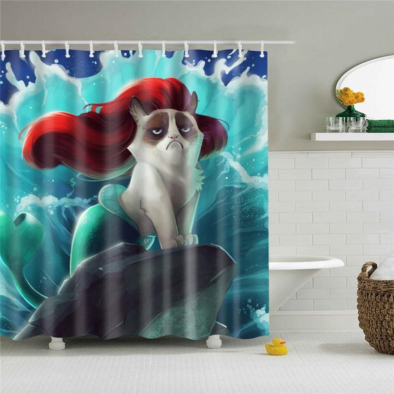 Cat Mermaid Shower Curtain - It's Okay To Be Weird