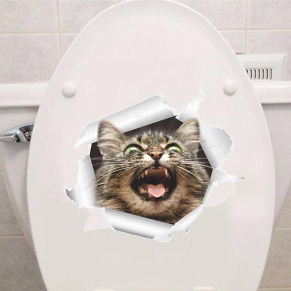 3D Cat Toilet Decal - It's Okay To Be Weird