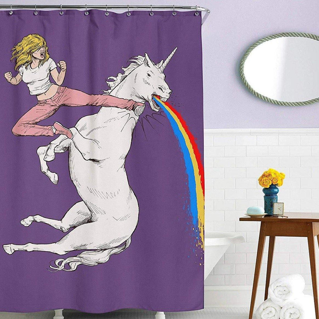 Kick A Unicorn In The Face Shower Curtain - It's Okay To Be Weird
