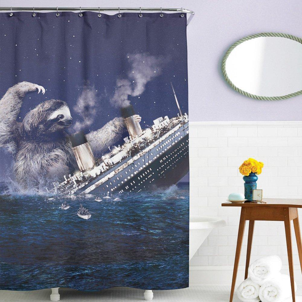 Sloth Vs The Titanic Shower Curtain - It's Okay To Be Weird