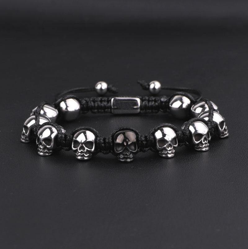 Steel Skull Braided Wrap Beads Bracelet For