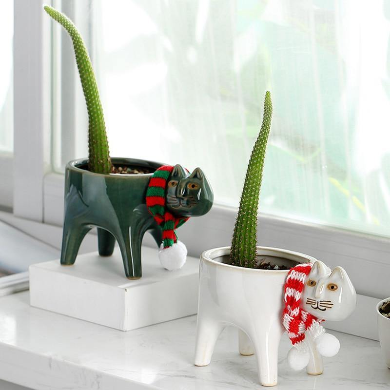 Cat Tail Flower Pot