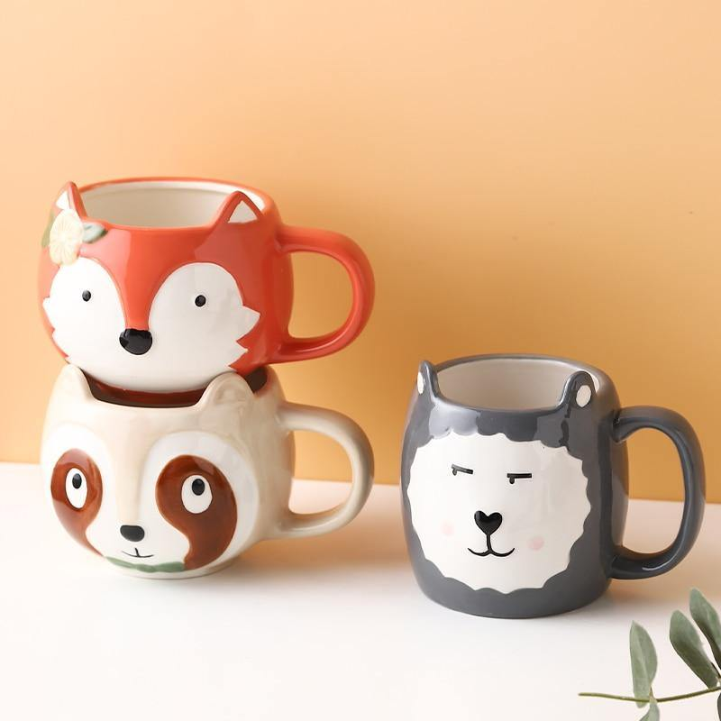 Cartoon Ceramic Animal Mugs