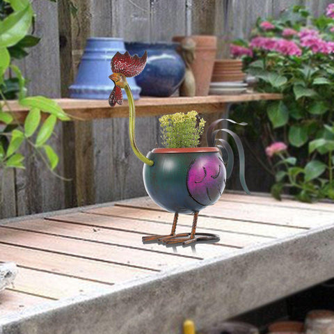 Rooster Flower Pot