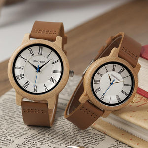 196aed092 BOBOBIRD Bamboo Wood Watches for Couples Set Leather Band Quartz Analog  Casual 2 COLORS