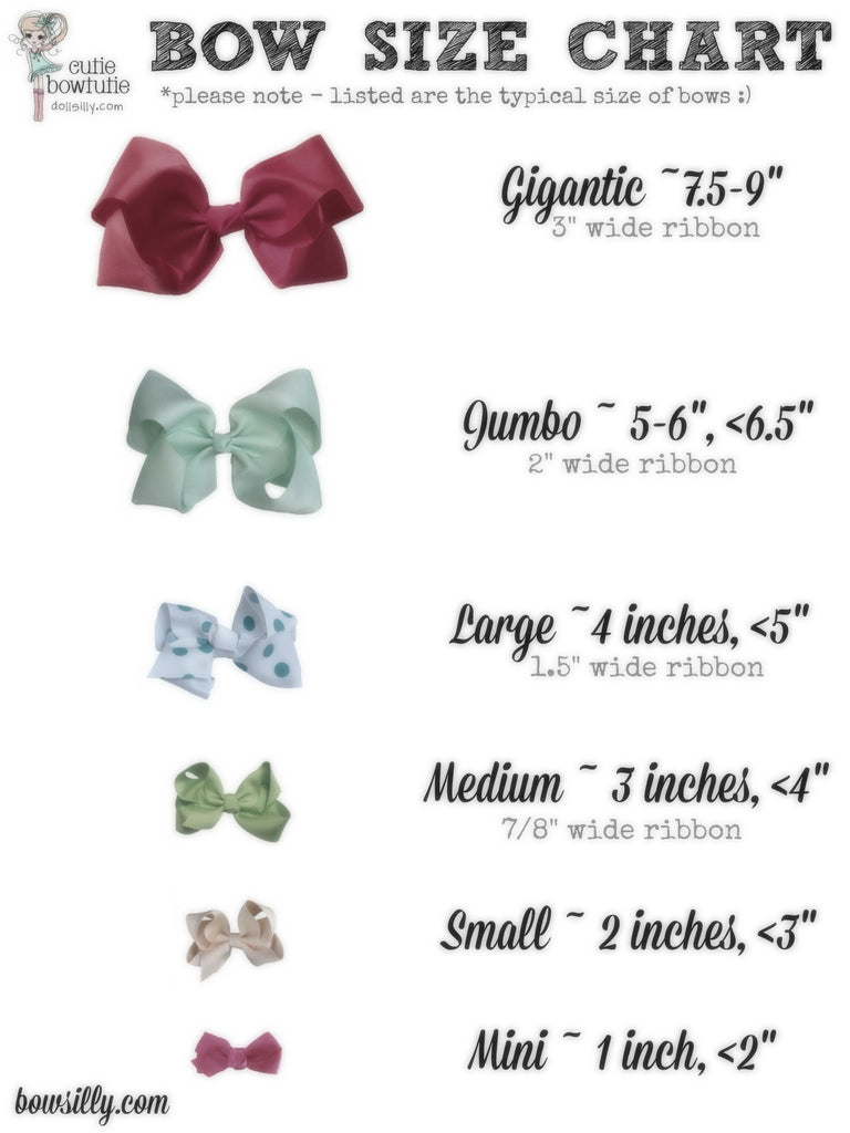 Bow Size Chart Cutie Bowtutie