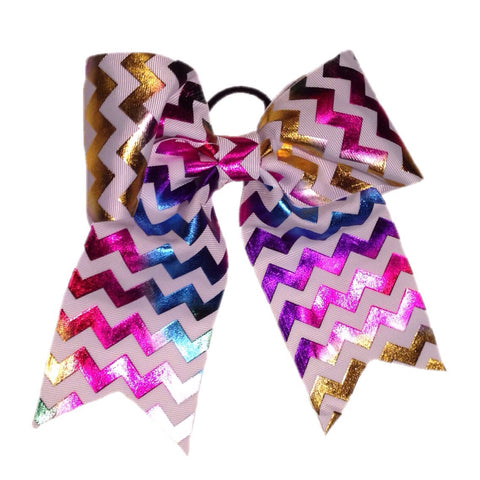 Metallic chevron cheer bow