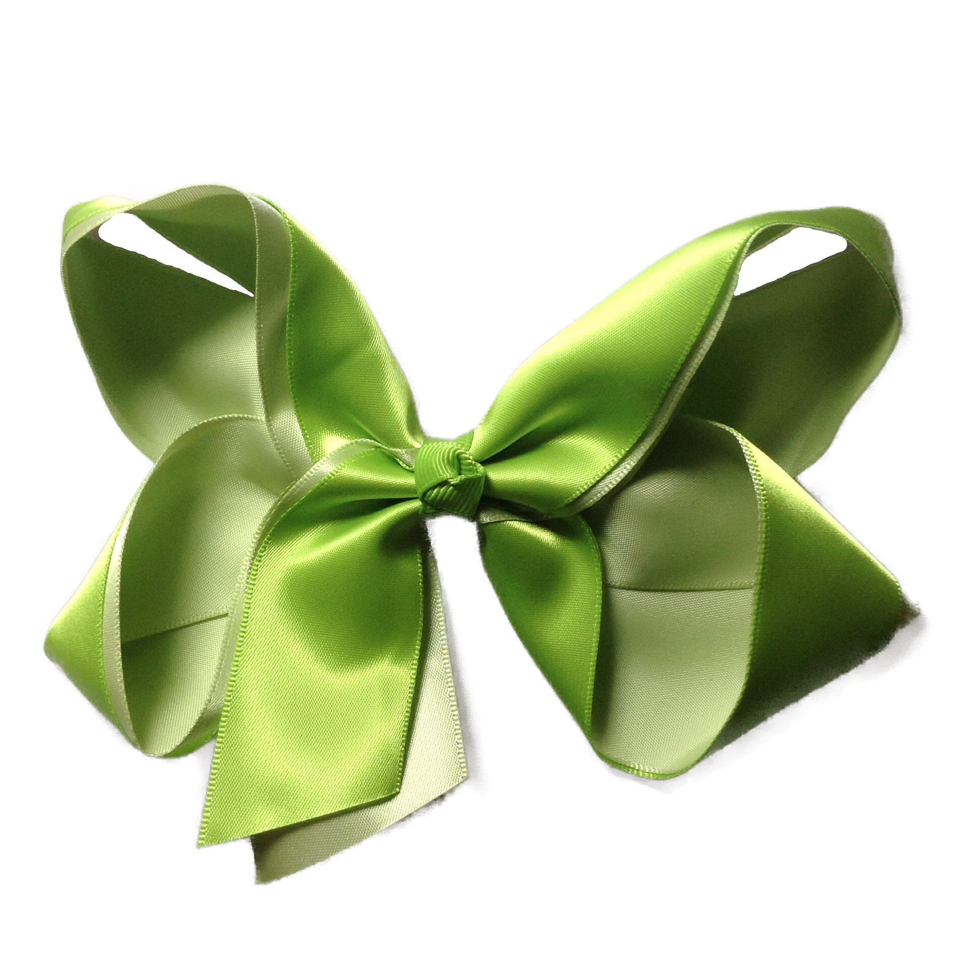 Double Satin Hair Bow - Lime - Cutie Bowtutie