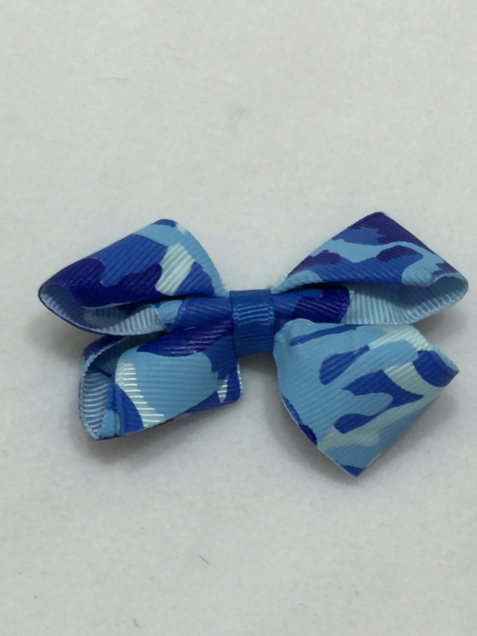 Small Hair Bow - Camo Blue - Cutie Bowtutie