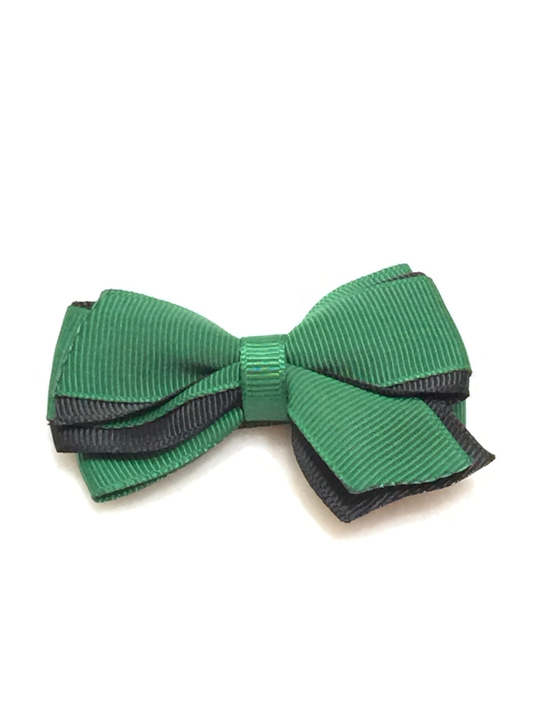Small Two Tone Hair Bow - Hunter Green