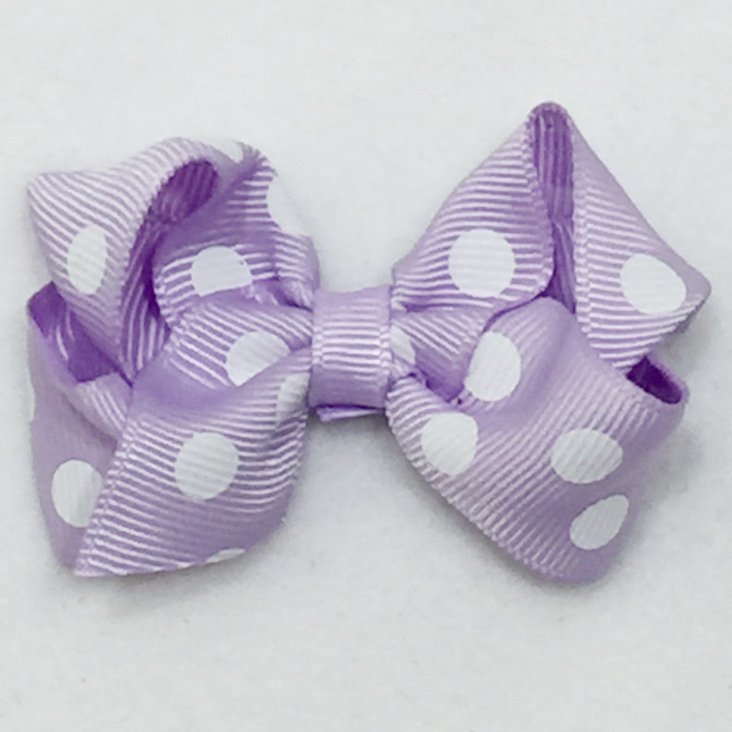 Small Polka Hair Bow - Lavender