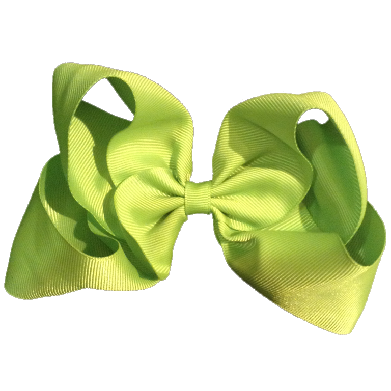 Large Flat Hair Bow - Apple Green