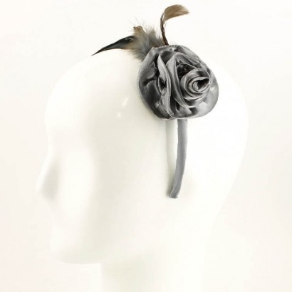 Feather & Rose Headband - Gray