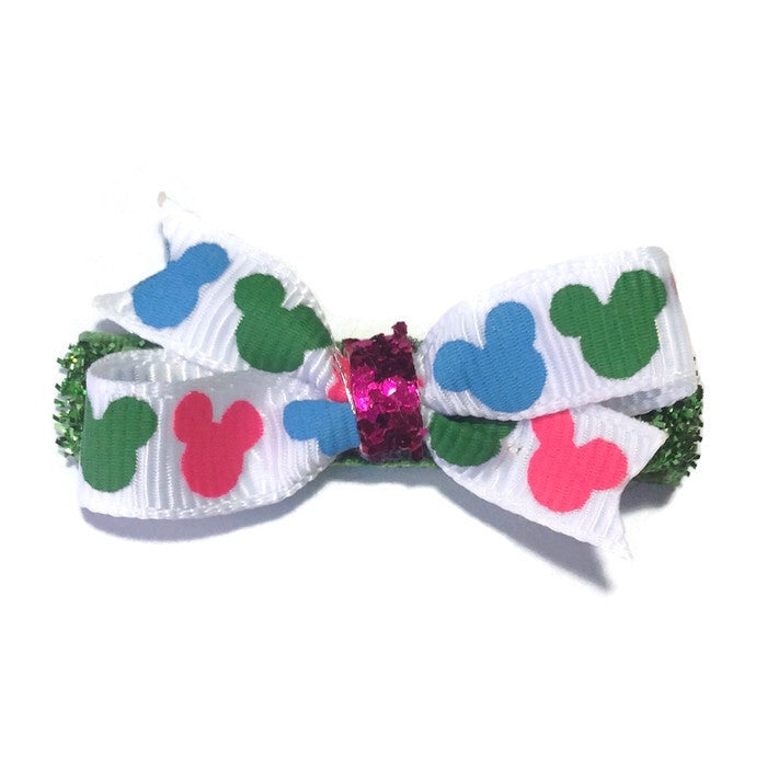 Mini Mickey Mouse Hair Bow - Green