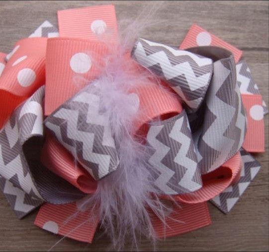 Boutique Feathered Hair Bow - Coral & Gray - Cutie Bowtutie