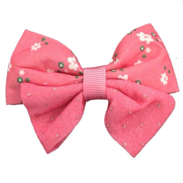 Medium Two Toned Tropical Hair Bow - Pink - Cutie Bowtutie