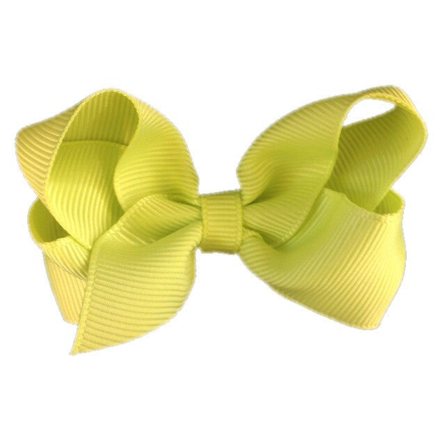 Small Hair Bow - Neon Yellow
