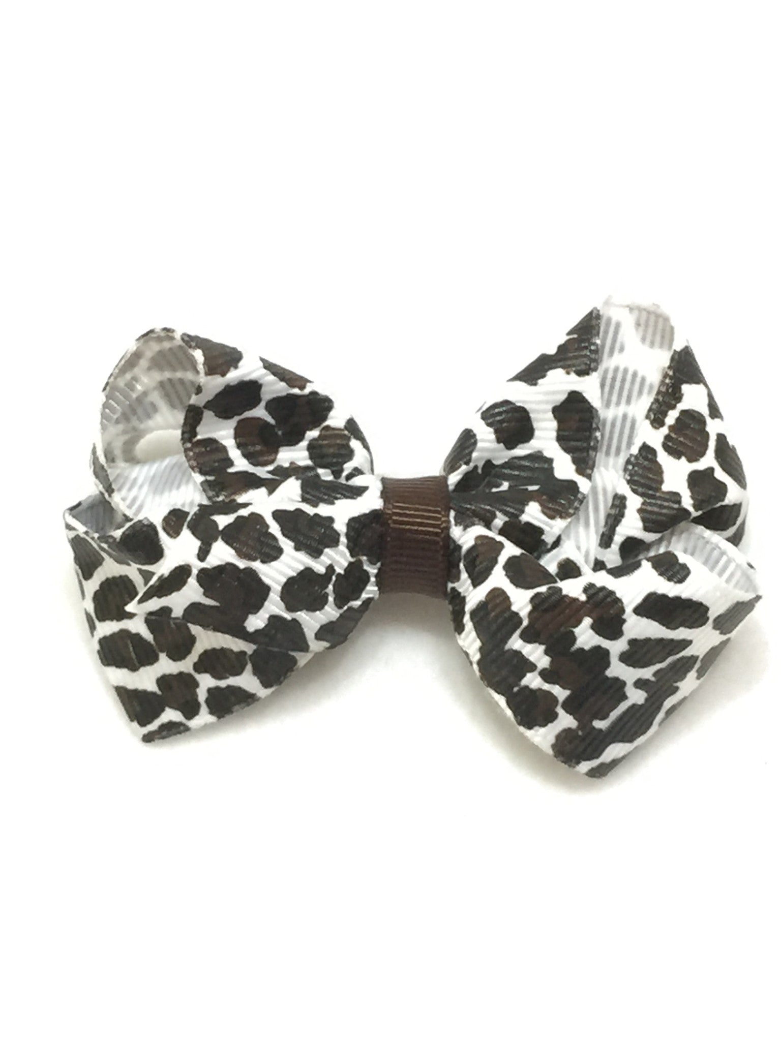 Small Hair Bow - Snow Leopard - Cutie Bowtutie