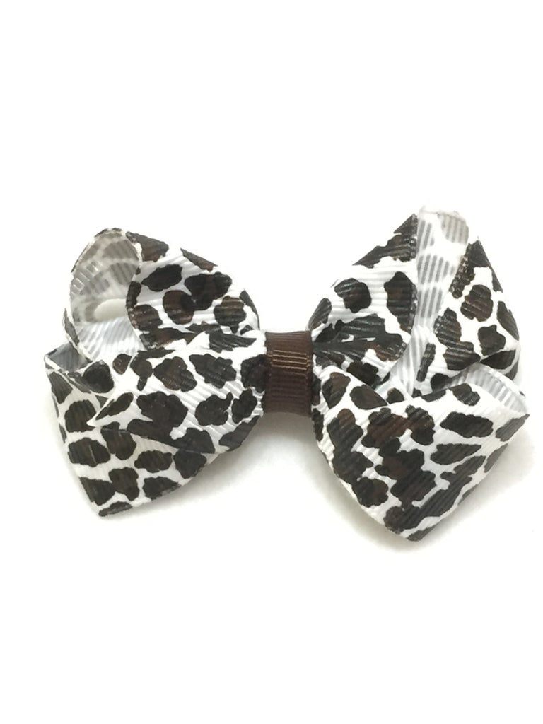 Small Hair Bow - Snow Leopard