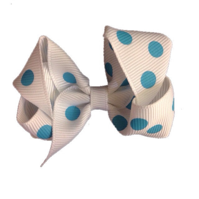 Small Hair Bow - Turquoise Polka Dot