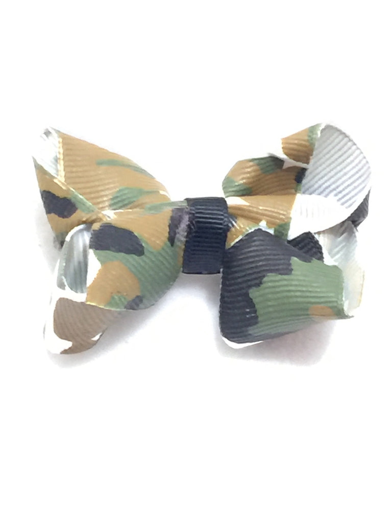 Small Hair Bow - Camo Green