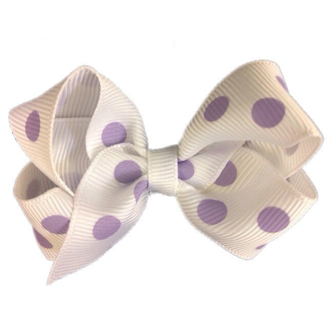 Small Hair Bow - Lavender Polka
