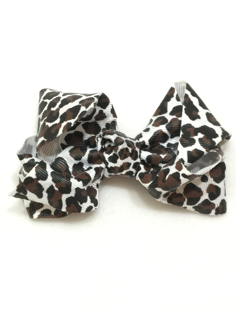 Large Hair Bow - Snow Leopard