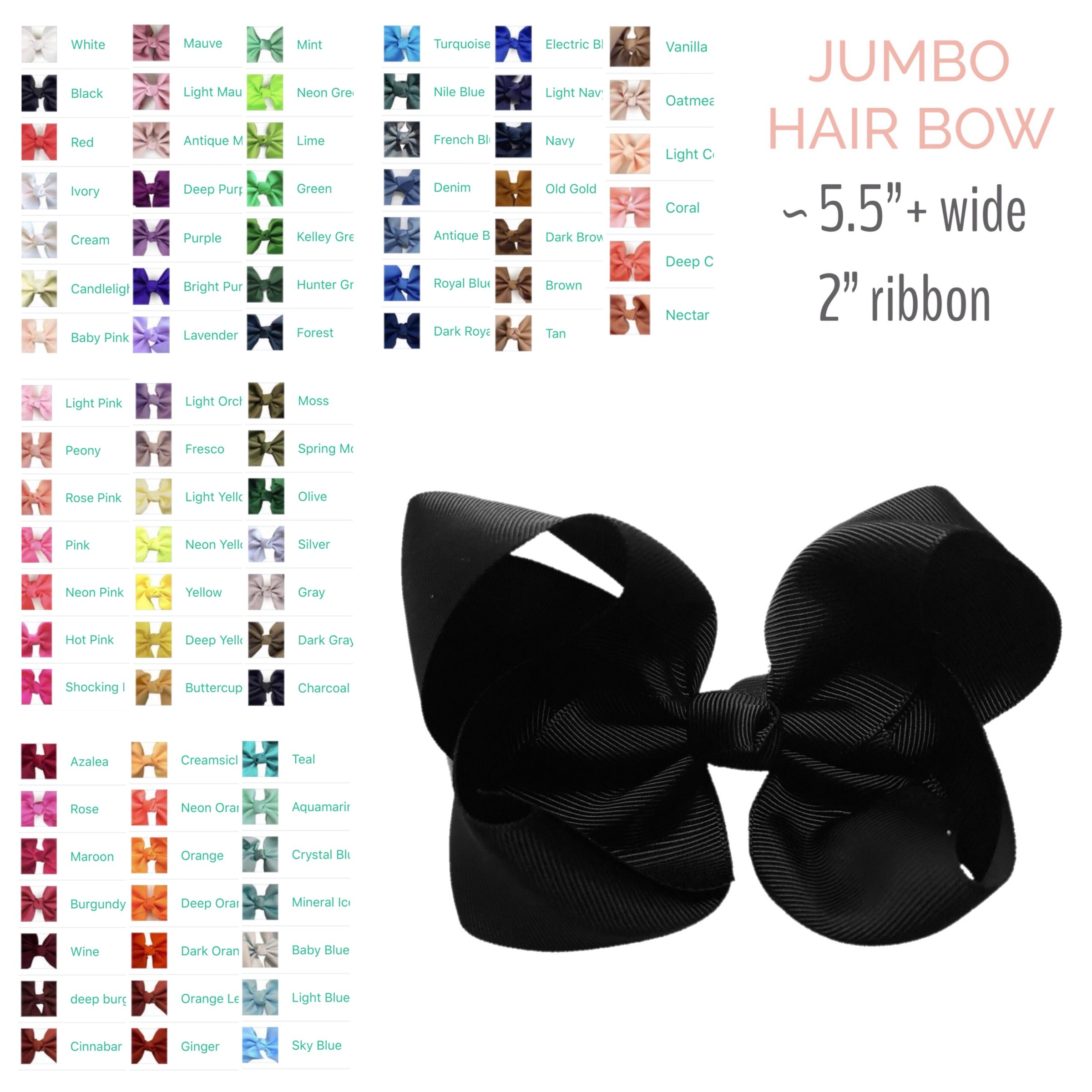 Hair Bow by Color - Jumbo - Cutie Bowtutie