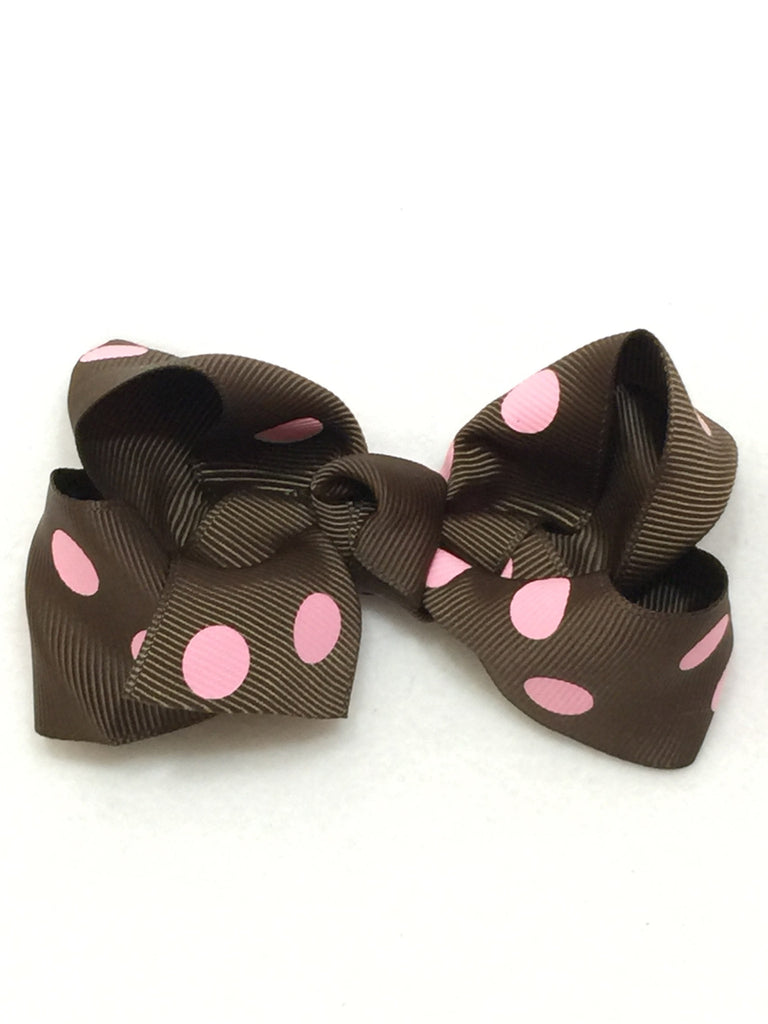 Large Hair Bow - Brown & Pink Polka