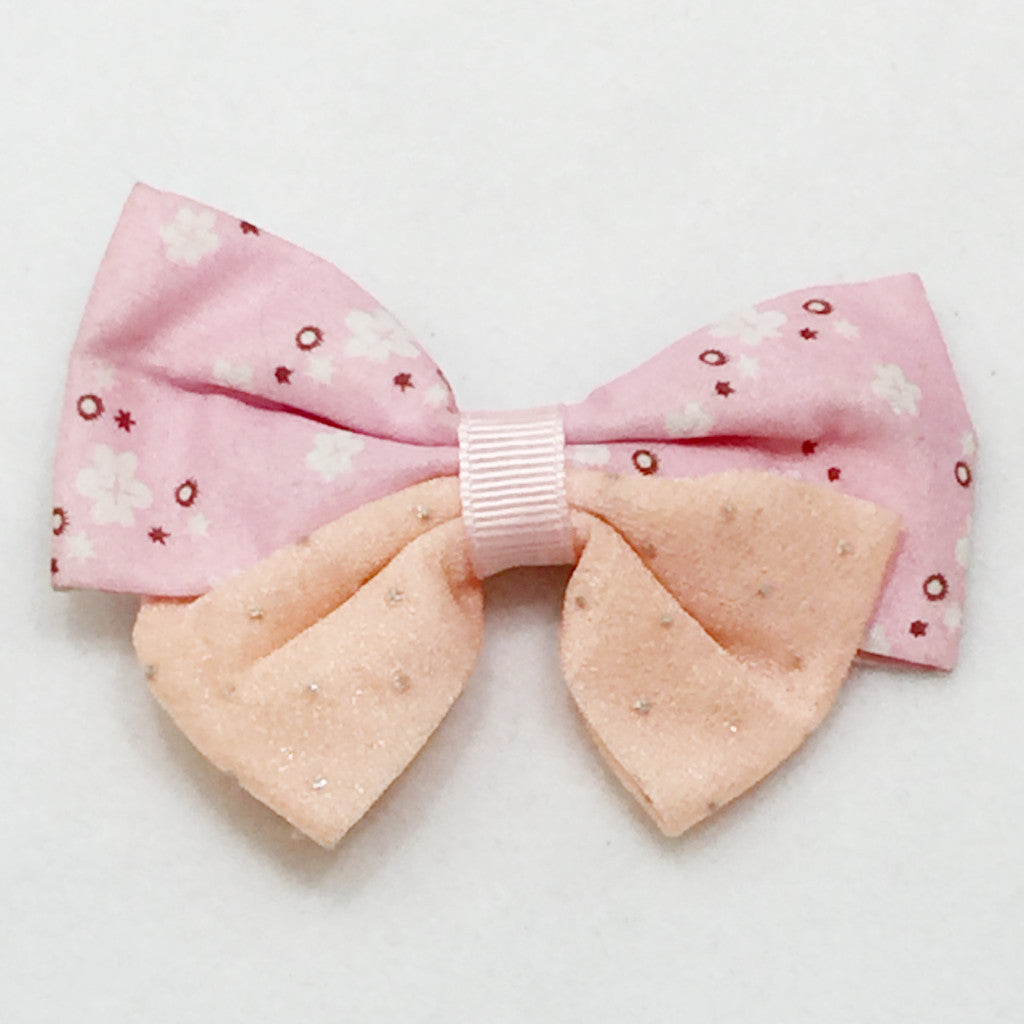 Large Two Tone Hair Bow - Light Pink