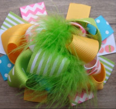 Boutique Feathered Hair Bow - Rainbow - Cutie Bowtutie