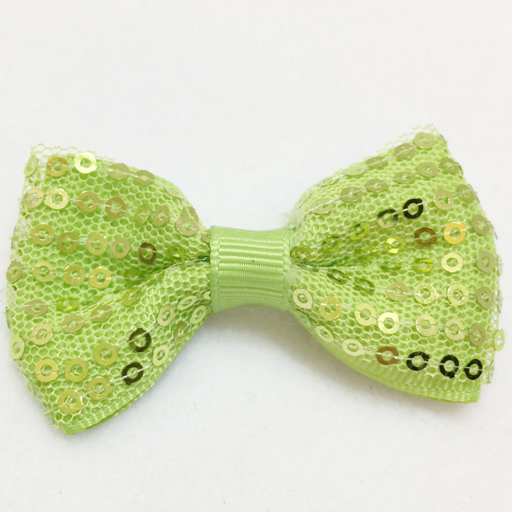Small Sequin Hair Bow - Lime