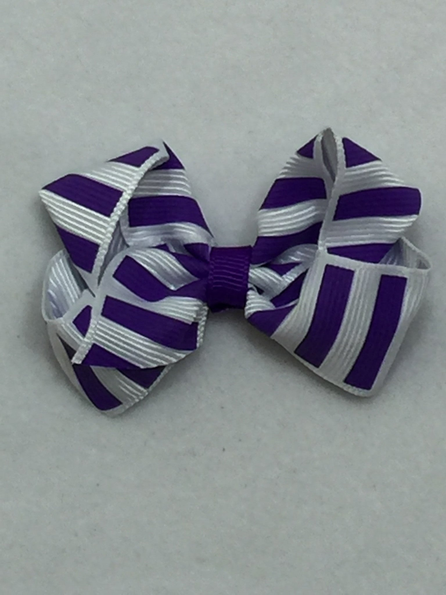 Small Hair Bow - Stripes Purple - Cutie Bowtutie