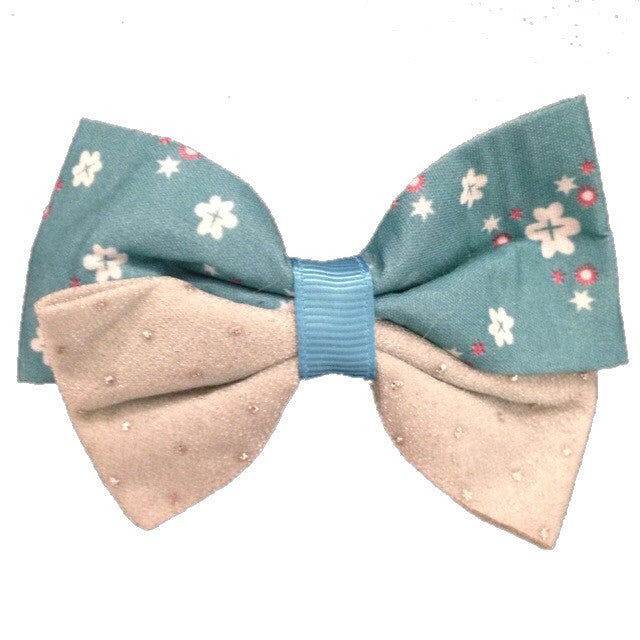 Medium Two Toned Tropical Hair Bow - Turquoise - Cutie Bowtutie