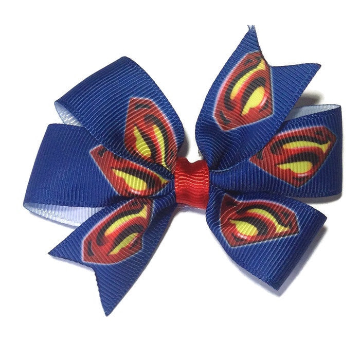 Medium Superman Hair Bow - Cutie Bowtutie