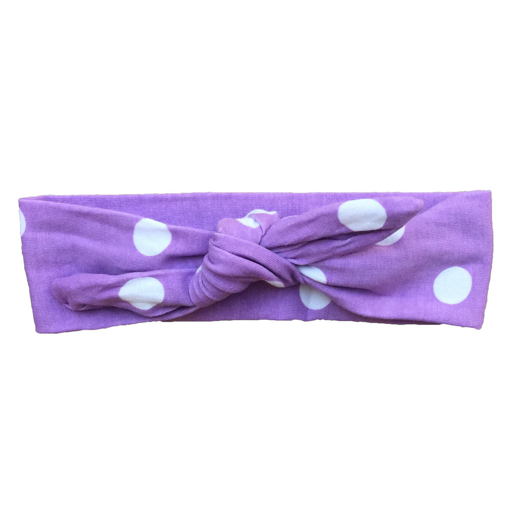 Adjustable Boutique Knot Headband - Lavender Polka