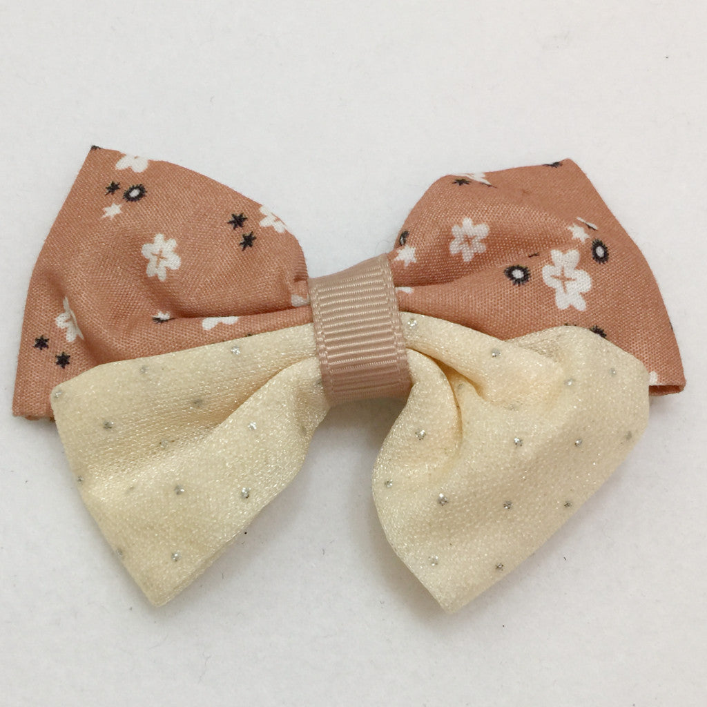Large Two Tone Hair Bow - Tan
