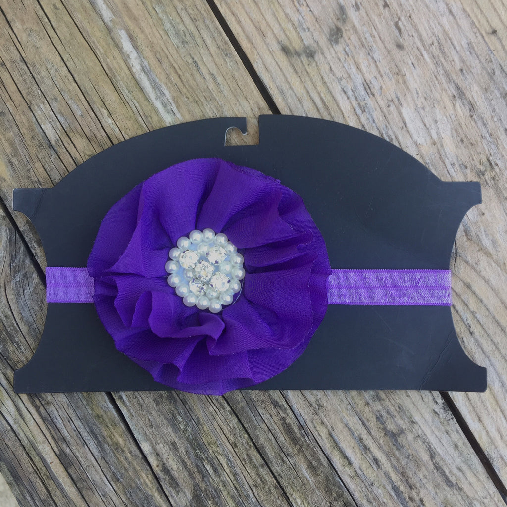 Rhinestone & Pearl Headband - Purple