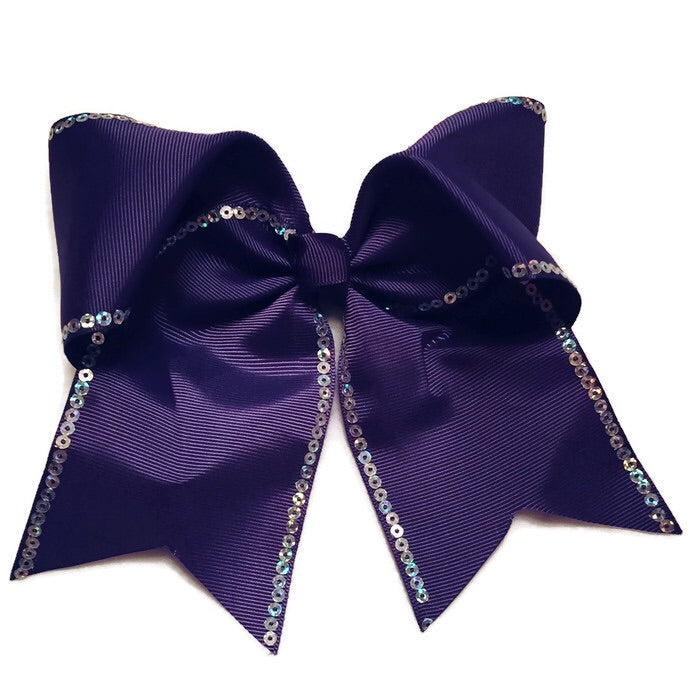 Cheer Bow - Purple Sequin