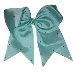 Cheer Bow - Aqua Rhinestone