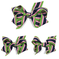 Preppy stripe hair bow- handmade