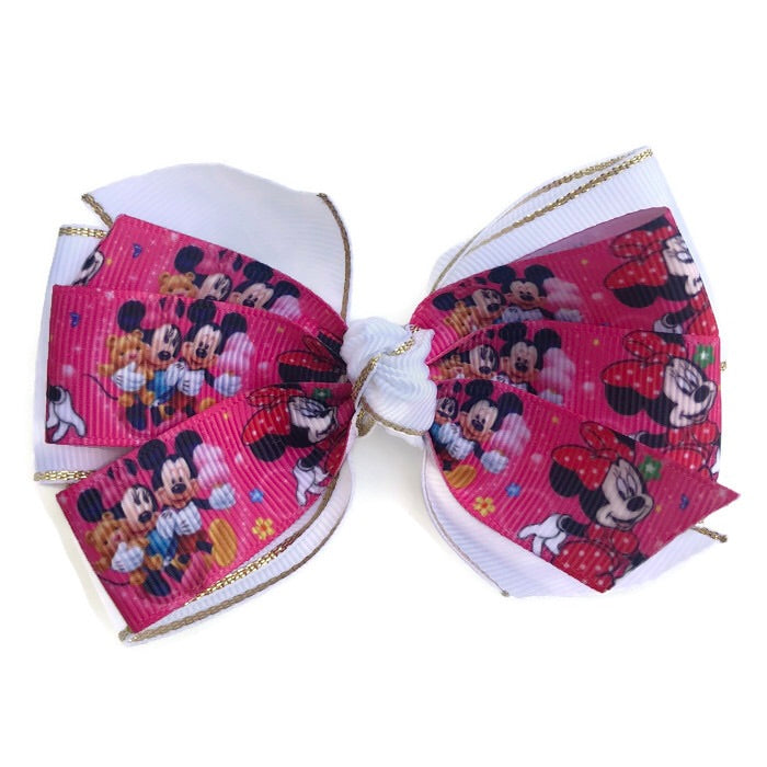 Large Character Hair Bow - Minnie & Mickey
