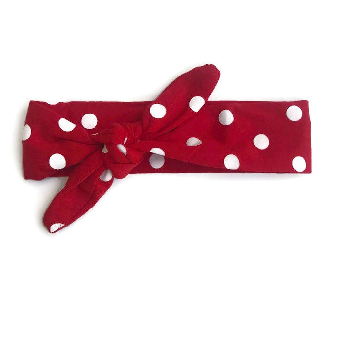 Adjustable Boutique Knot Headband - Red Polka - Cutie Bowtutie