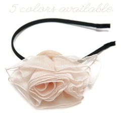 Headband - Shabby Single Rose - Cutie Bowtutie