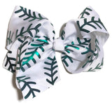 Gigantic Hair Bow -  Green Stitch - Cutie Bowtutie