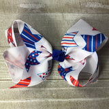 Jumbo Red White & Blue Star Hair Bow - Cutie Bowtutie