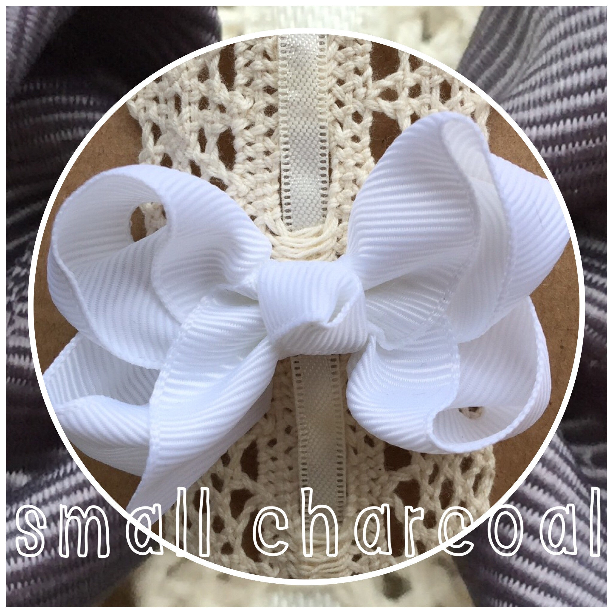 Small Classic Hair Bow - Charcoal - Cutie Bowtutie