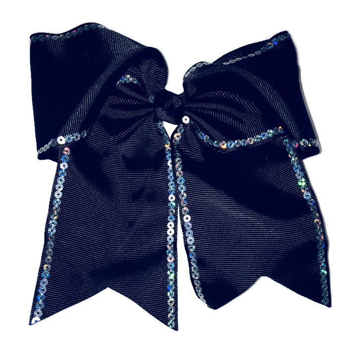 Cheer Bow - Black Sequin - Cutie Bowtutie