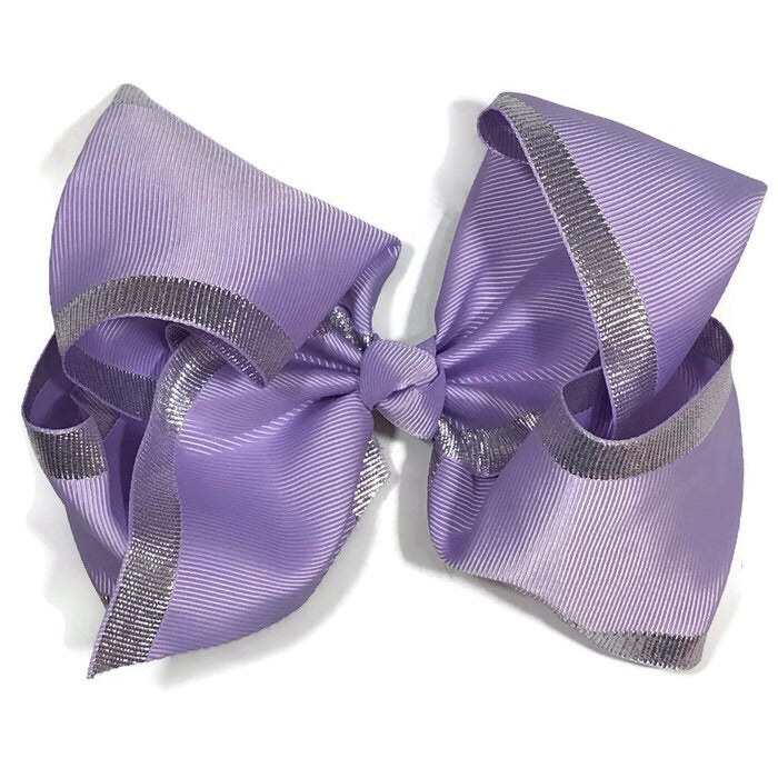 Gigantic hair bow - lavender with silver trim - Cutie Bowtutie