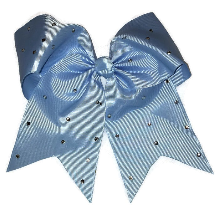 Cheer Bow - Light Blue Rhinestone
